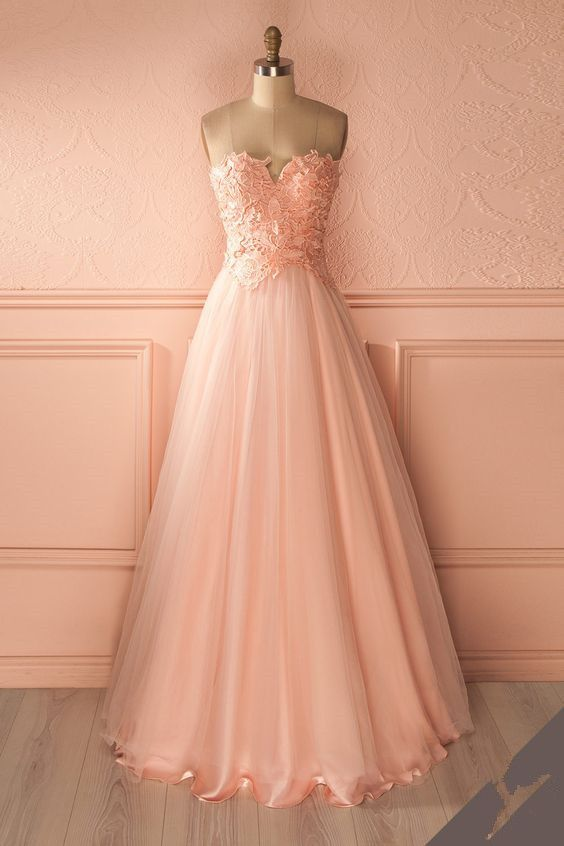 bd8f0e15cbf Strapless Sweetheart Lace Appliqués Floor-Length Tulle Prom Dress ...