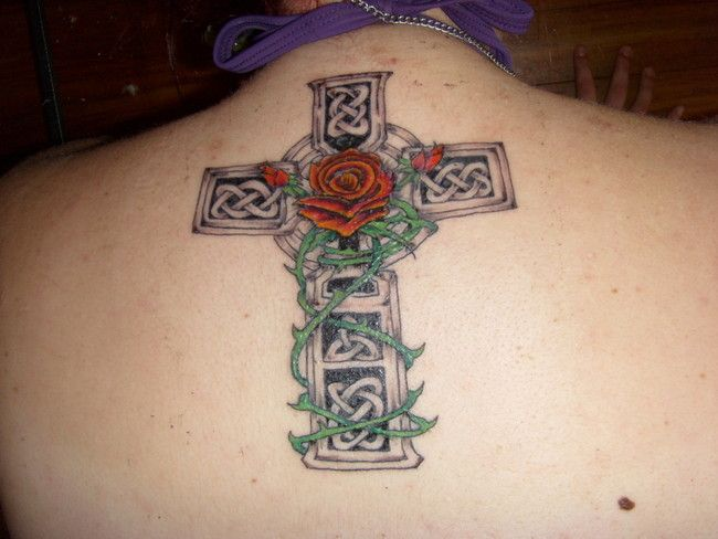Stylish Celtic Cross And Rose Tattoo Designs Fashion Tattoos
