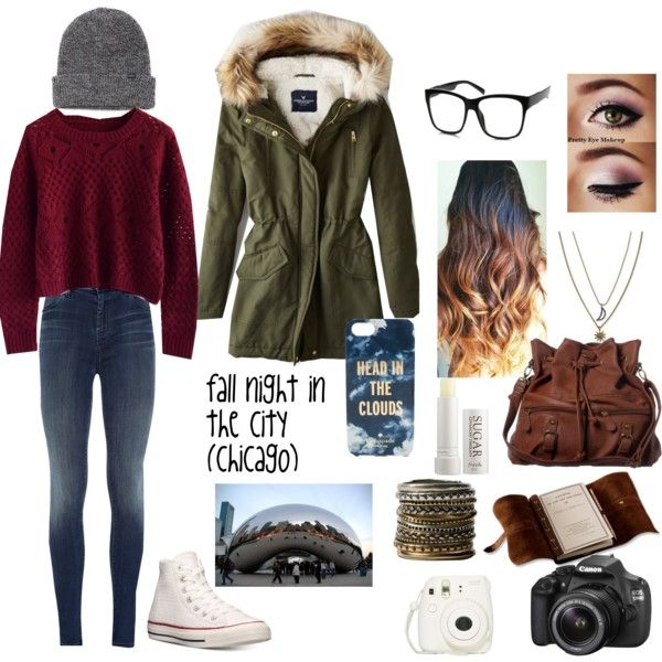 fall night in the city *Chicago* by abbie5501 on Polyvore featuring Chicwish, American Eagle Outfitters, J Brand, Converse, ANS, Rachel Rachel Roy, OBEY Clothing, Kate Spade, Retrò and Fresh