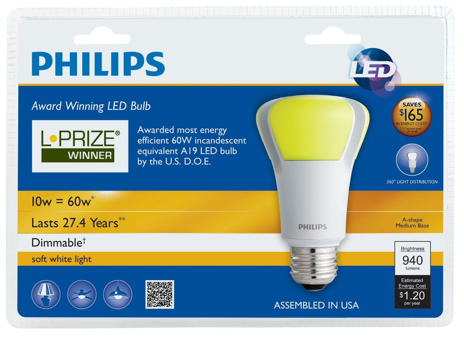 Philips 423244 10 Watt 60 Watt L Prize Award Winning Led Light Bulb Review Myfurniturebox Led Light Bulb Bulb Philips