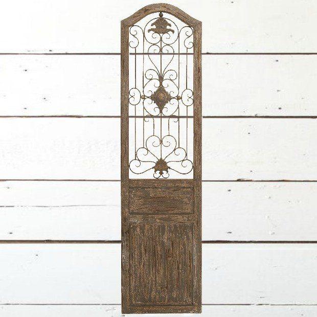 Iron Scrollwork Wood Door Panel Wall Decor