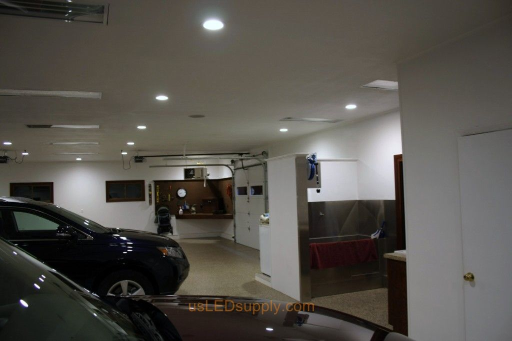 Garage With White Recessed Led Lighting Garage Lighting