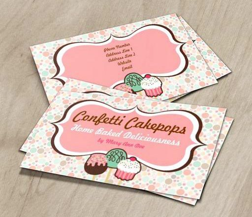 Confetti Cake Pops Business Cards This Cute Card Design Is Available For Customization Maker Pinterest