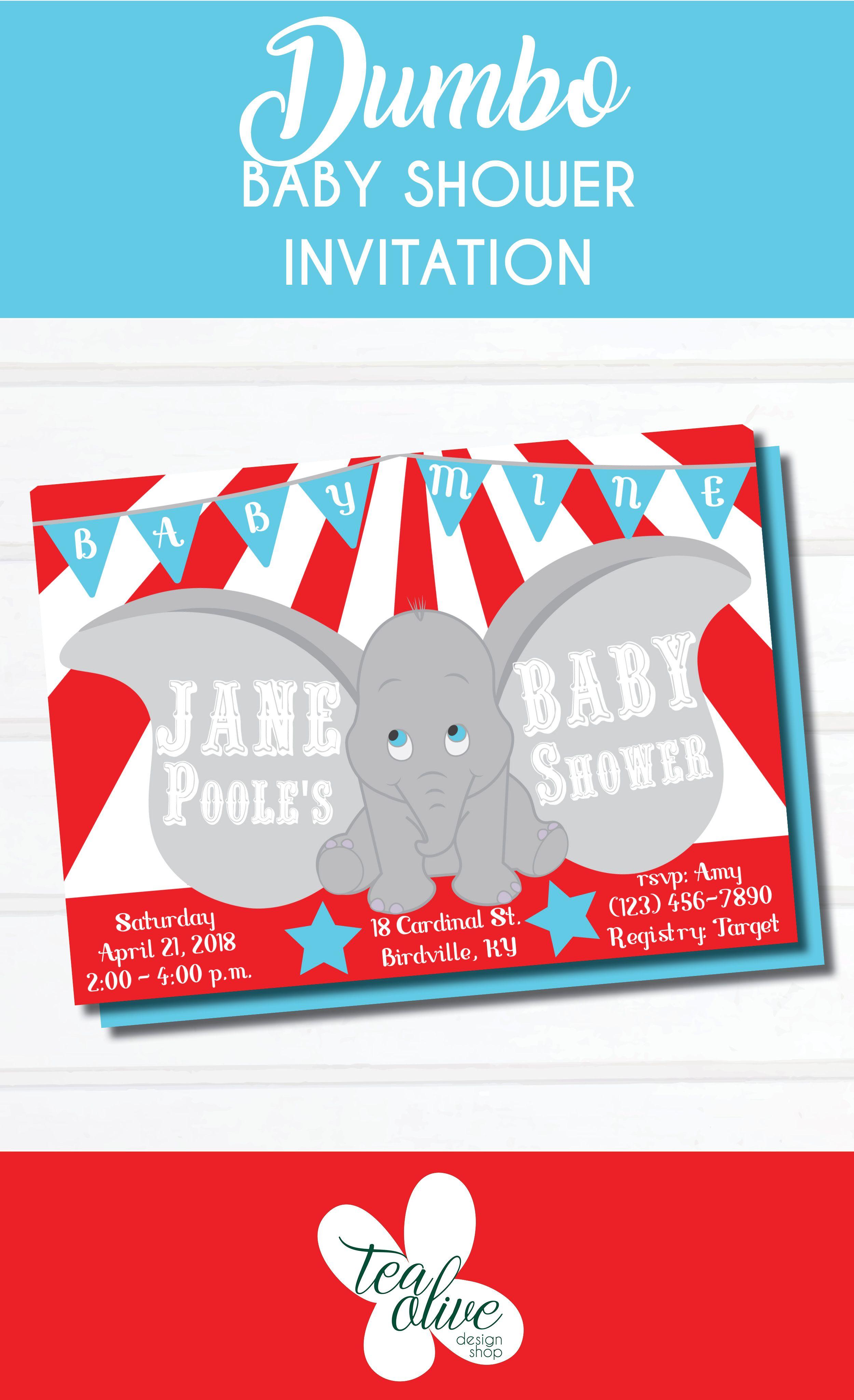 Dumbo Baby Shower Invitation / Baby Mine Disney Inspired / Bright ...