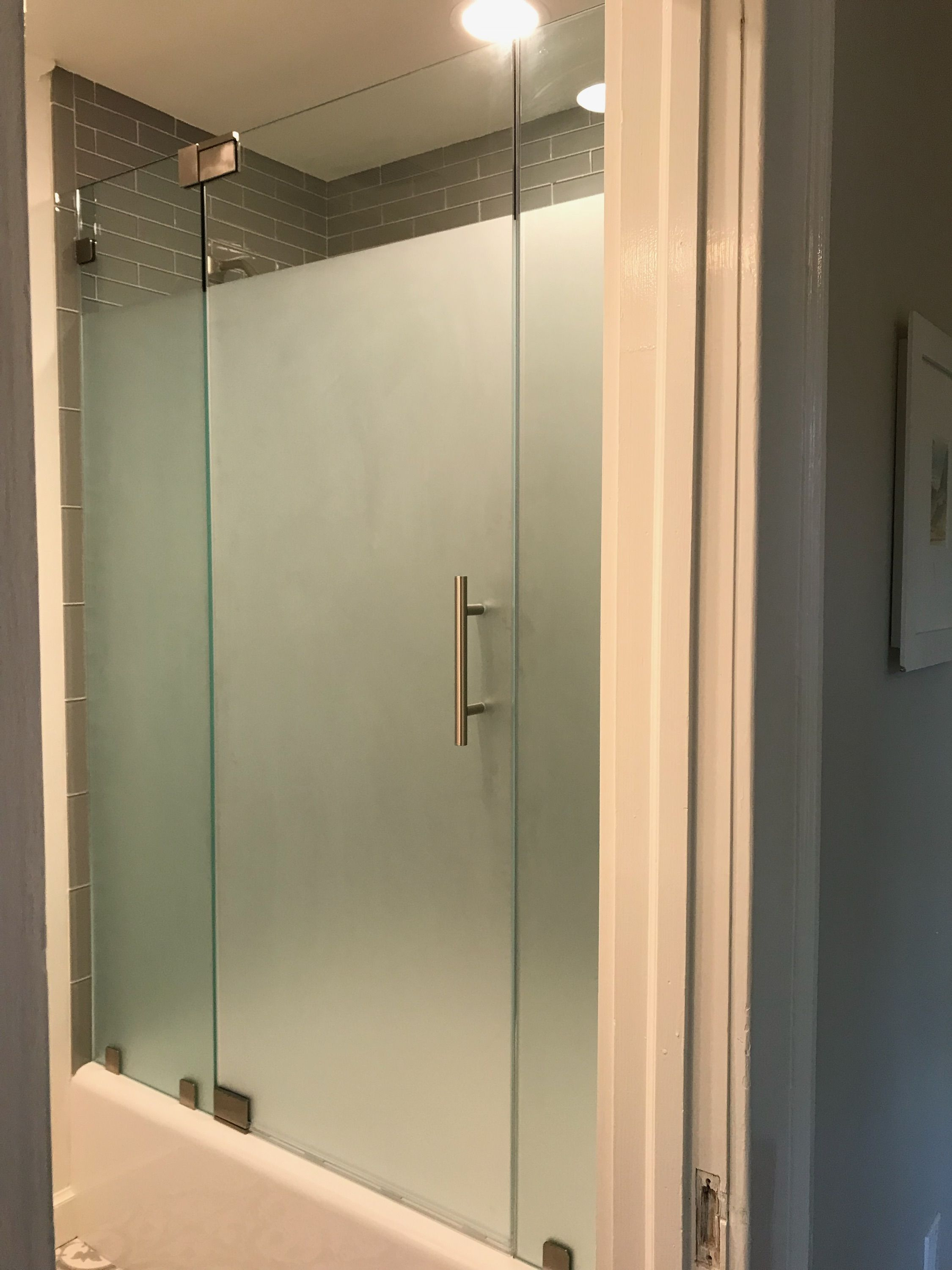 Frameless Enclosure With Glass To Glass Pivot Hinges And Custom Satin Etched Glass To Provide Priv Glass Shower Enclosures Frameless Shower Doors Glass Shower