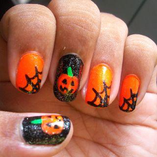 Halloween nails - pumpkins and spider webs | Halloween ...