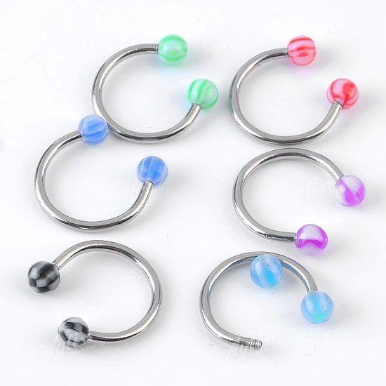 10PCS*Stainless Steel Horseshoe Bar Lip Nose Septum Ear Ring Stud Piercing Ball