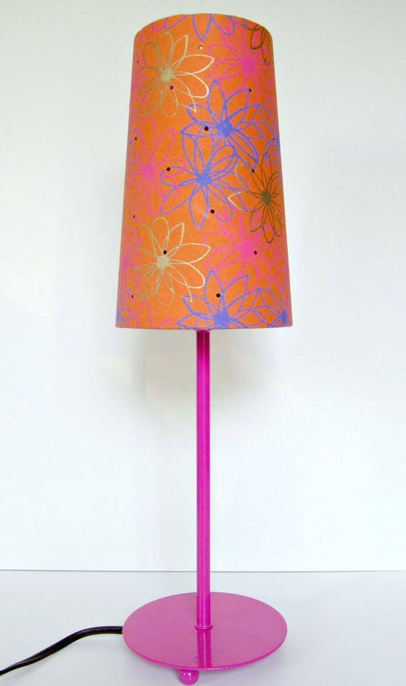 Orange And Hot Pink Interiors/images   Pink Lamp Base And Orange Lamp Shade  Set