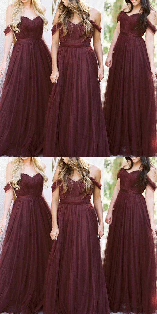 Sweetheart Tulle Long Bridesmaid Dress With Off Shoulder Straps Custom Made Fashion Long Wedding Party Dresses Bd098 Burgundy Bridesmaid Dresses Cute Bridesmaid Dresses Long Bridesmaid Dresses