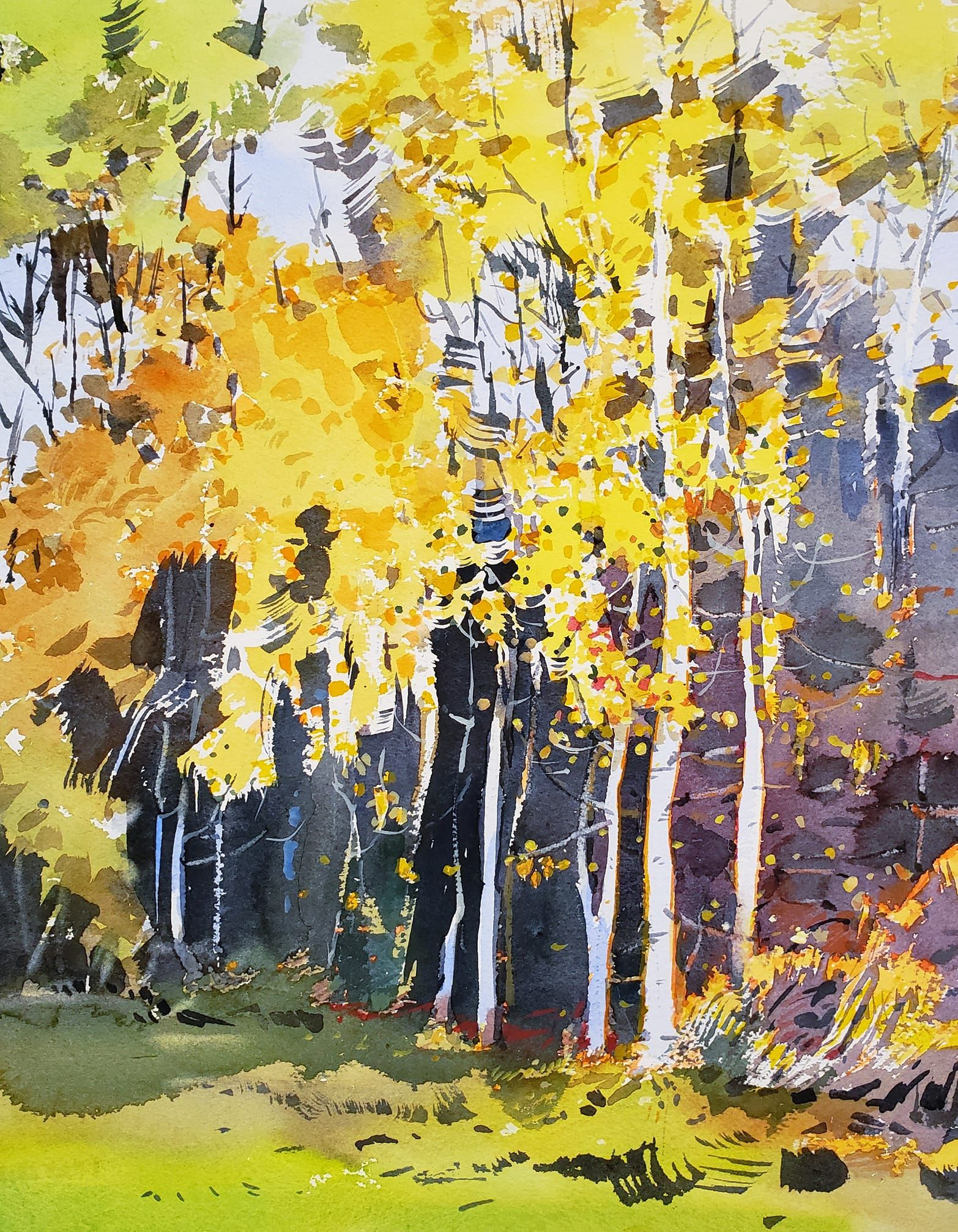 Yong Hong Zhong Painting The Golden Aspen Trees In Beaverton Or