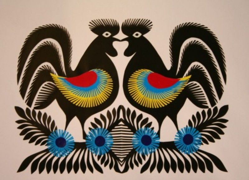 Wieslawa Bogdanska Wycinanka Kurpiowska Koguty 800 577 Paper Art Artwork Crafts