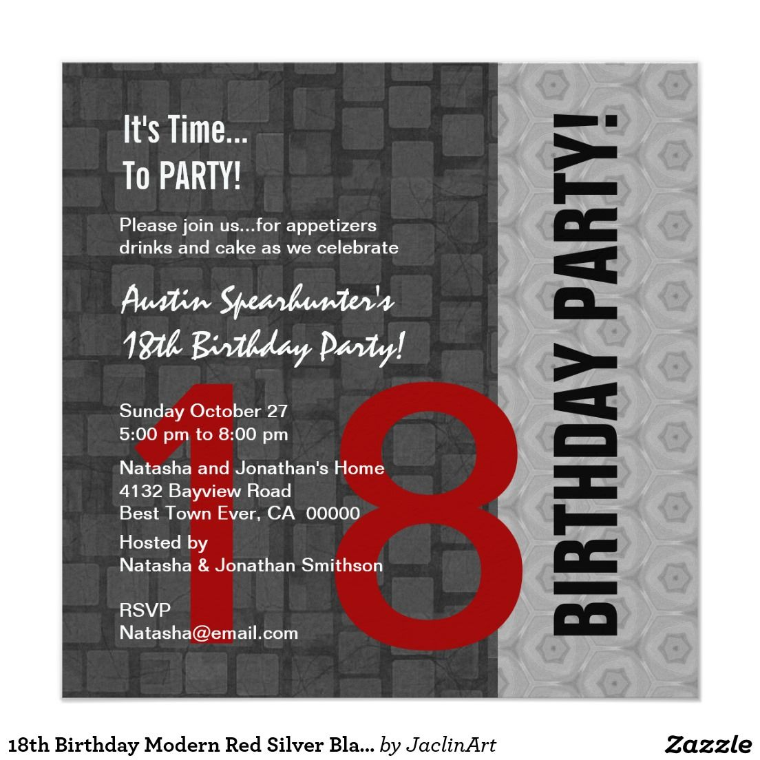 18th Birthday Modern Red Silver Black D417 Card | Invitation card ...