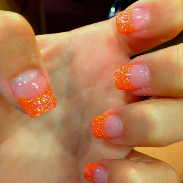Orange Sparkly Nails Orange Acrylic Nails Sparkly Nails French Nails