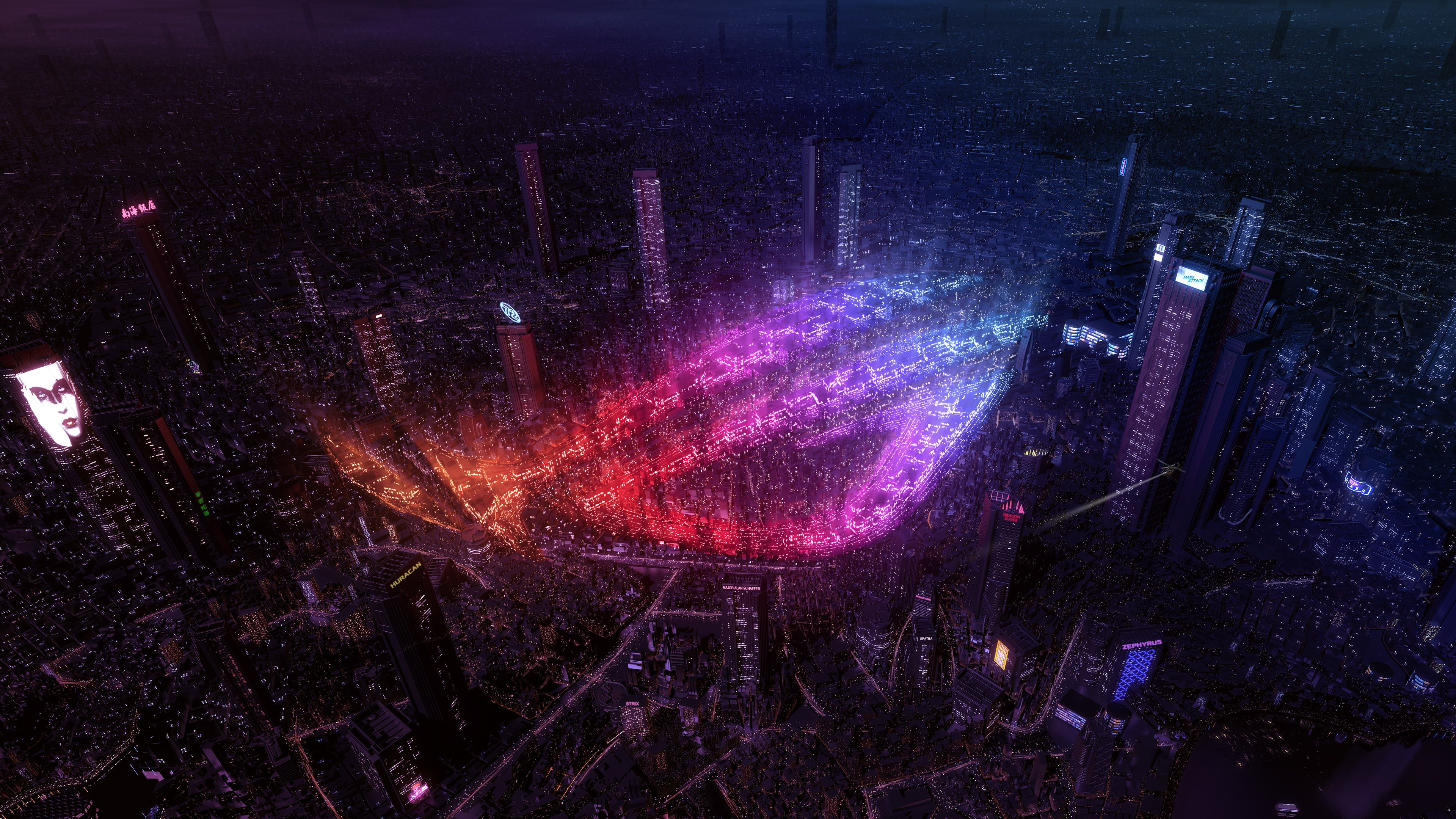 Asus Rog City Neon Lights City Lights Asus Neon Rog 4k Wallpaper Hdwallpaper Desktop 4k Wallpapers For Pc Neon Light Wallpaper Neon Wallpaper