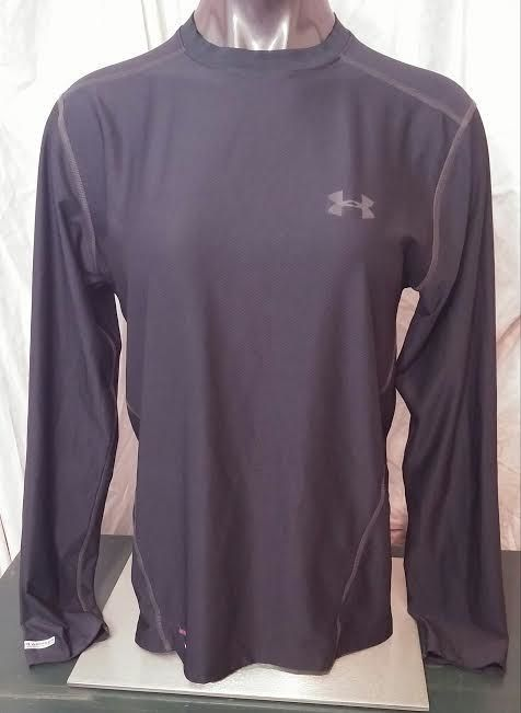 Under Armour mens fitted heatgear long sleeve workout exercise shirt black M #UnderArmour #ShirtsTops