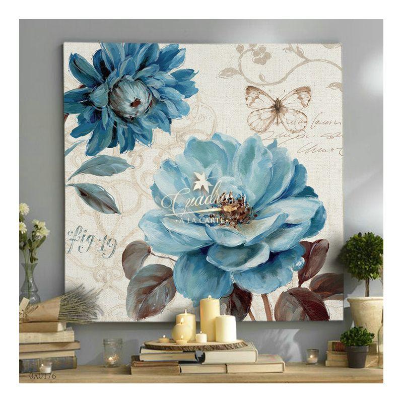 Flores Flor Y Mariposa 2 Cuadros Decorativos Al óleo