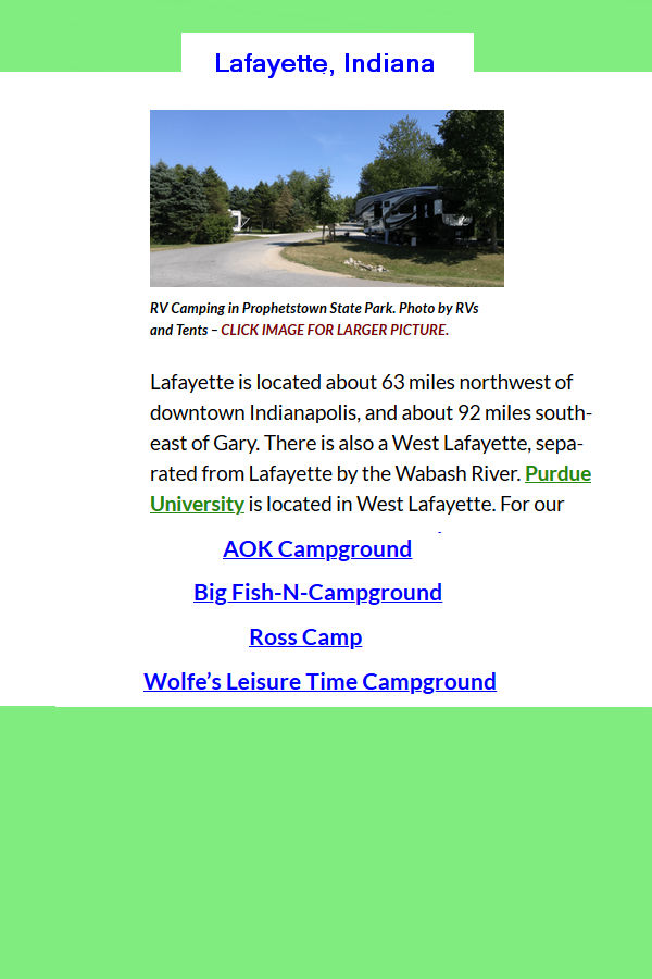 Pin On Camping In Lafayette Indiana