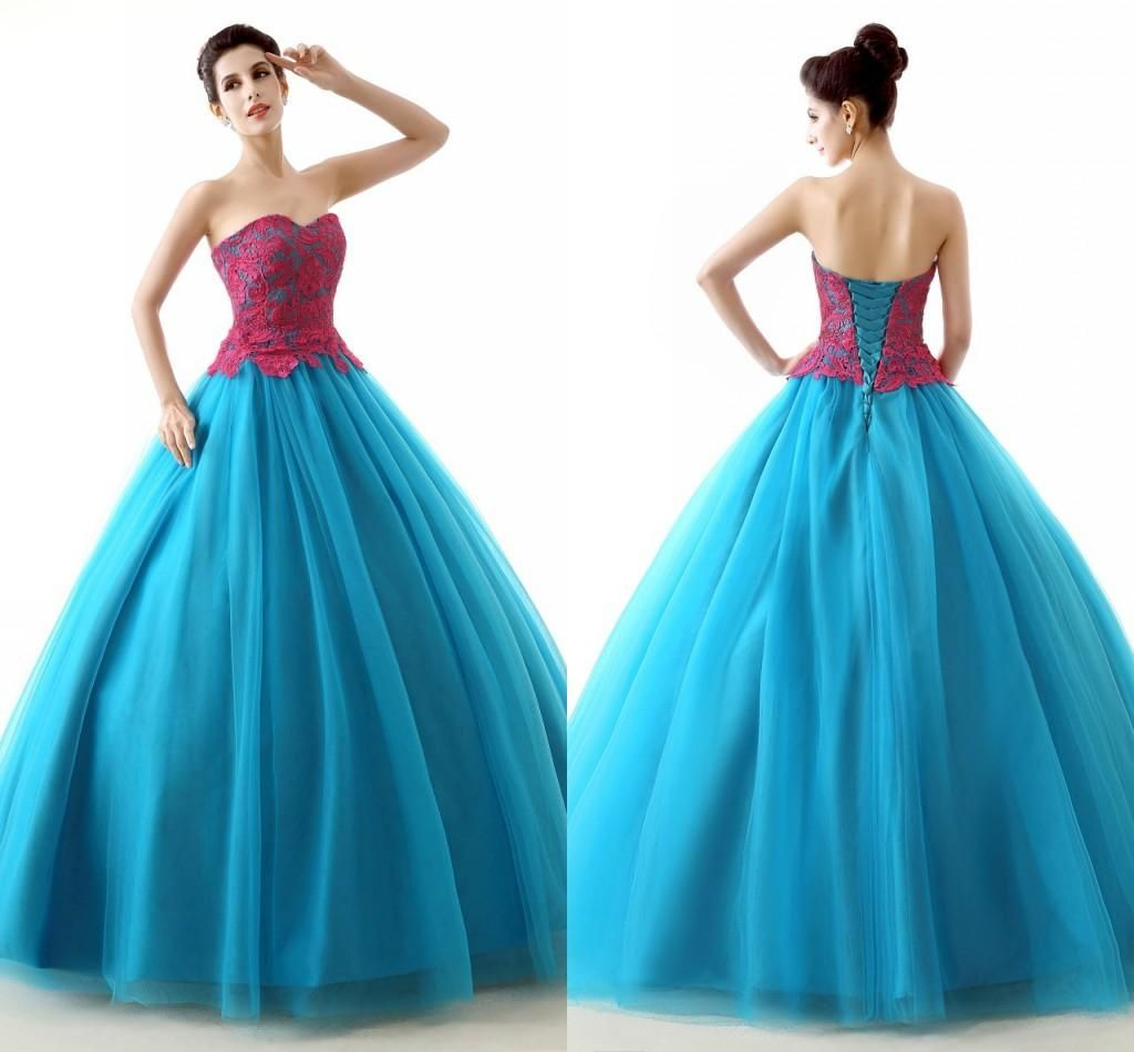 Red Applique Lace Blue Prom Dresses 2015 High Fashion Sweet 16 Girls ...