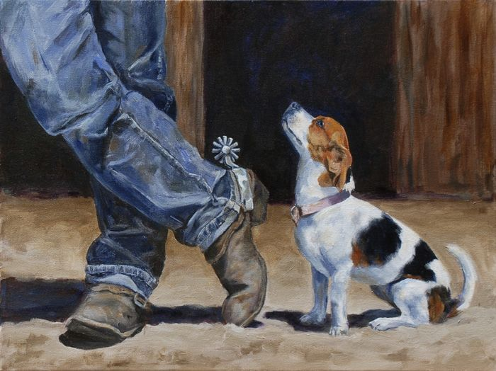 """The Littlest Cowdog"" - 18""x24"" Acrylic Painting - © by Sandra Stevens"