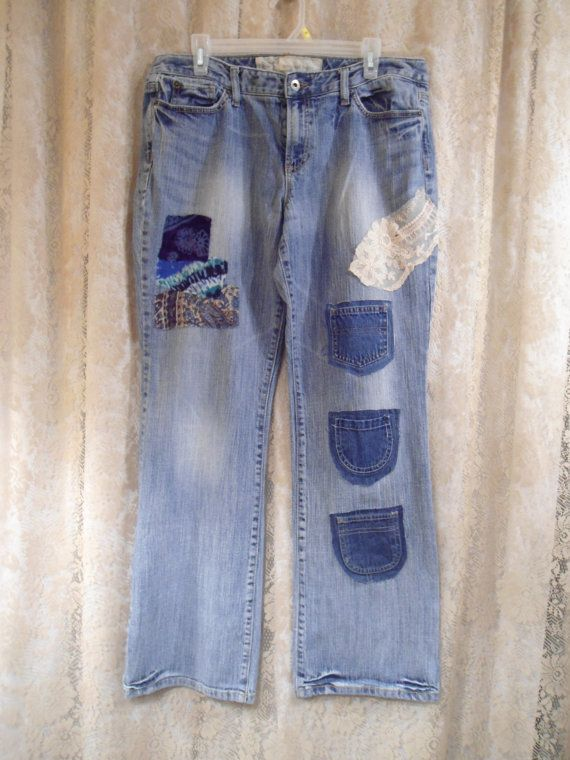 Hippie Patched Jeans Upcycled Redesigned Extra by LandofBridget