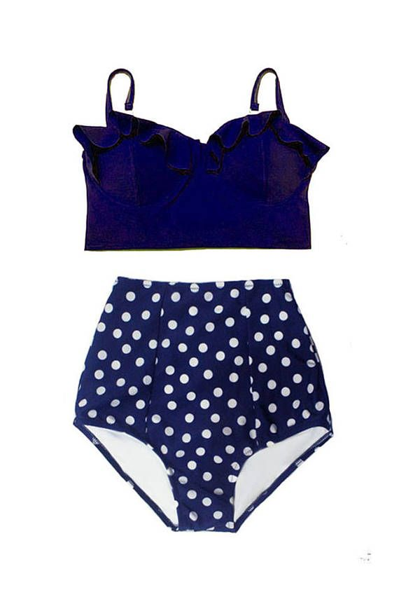 06927185ba8bc Women Womens Bikini Swimsuit Navy Blue Midkini Top and Polka dot ...