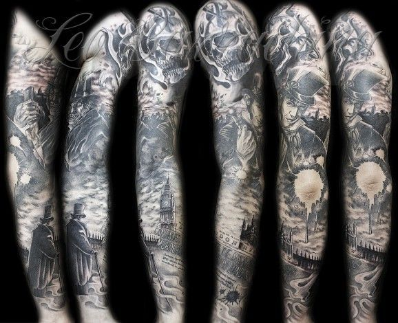 impressive dr jekyll and mister hyde sleeve by leo barrachina tattoos pinterest tattoo. Black Bedroom Furniture Sets. Home Design Ideas