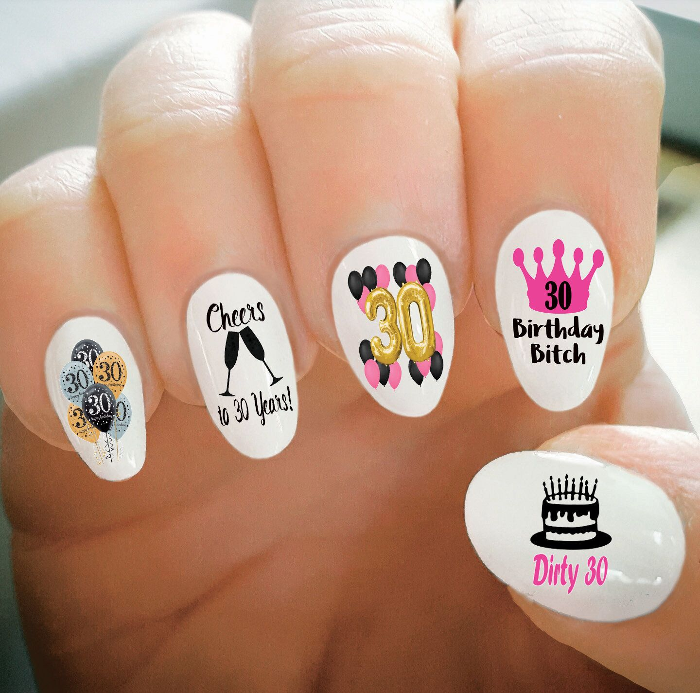 Nail Decals 30th Birthday Nail Decals Happy Birthday Thirty