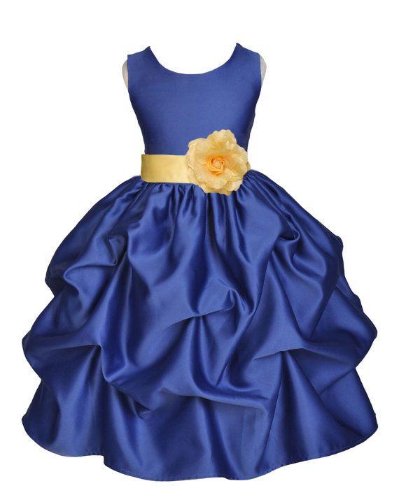 Navy Blue Choice Of Color Sash Kids Flower Girl Dress Pageant Wedding Bridal Long Flower Girl Dresses Sleeveless Flower Girl Dresses Flower Girl Dresses Blue