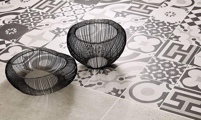 Carrelage aspect carreau ciment en grès cérame. mélange de 12 décors.