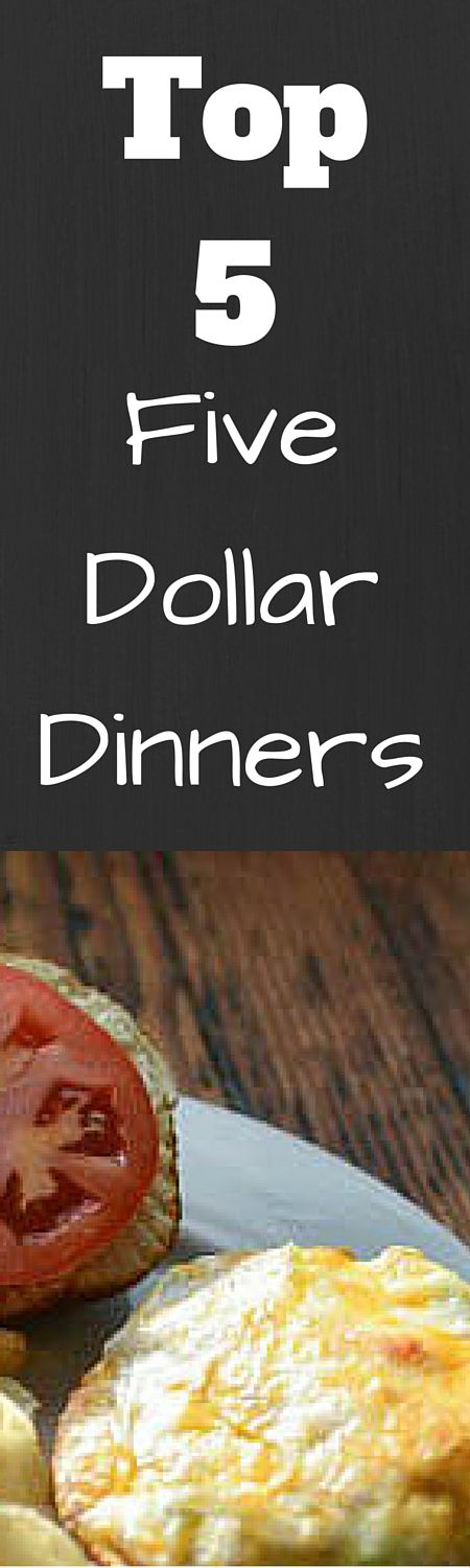Save money on your grocery budget with these five dollar dinners.  These inexpensive meals will help you meal plan and save money on groceries. (Budget Meals)
