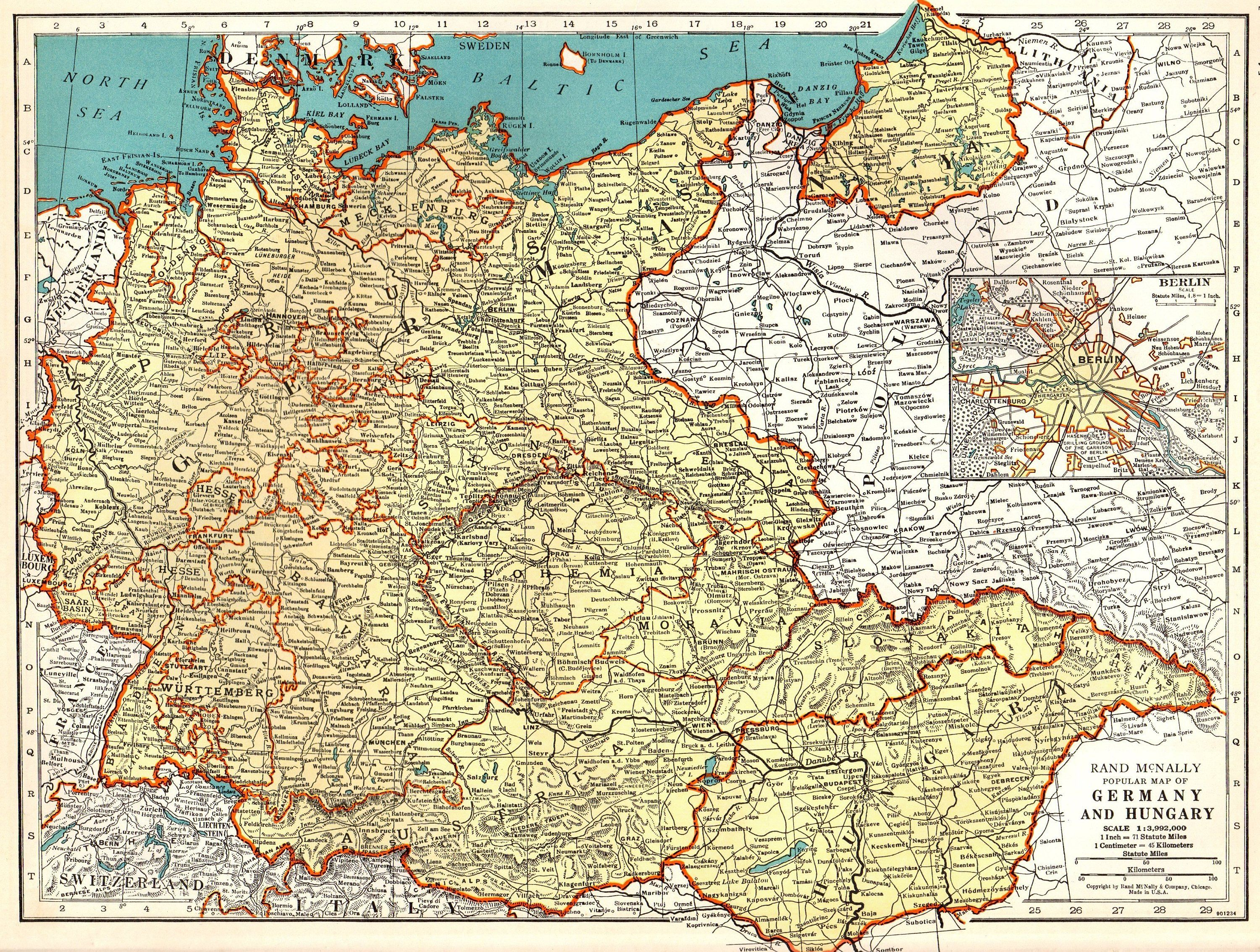Map Of Germany And Hungary.1940 Vintage Map Of Germany And Hungary Map Gallery Wall Travel