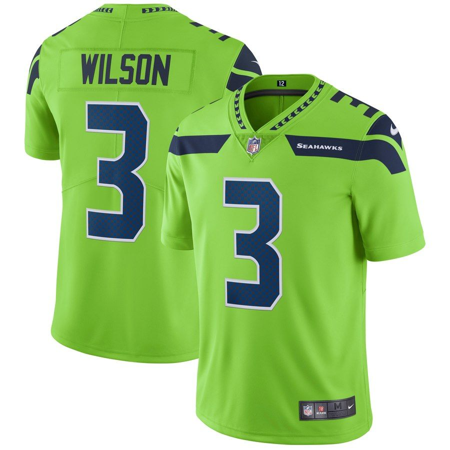 Men S Seattle Seahawks Russell Wilson Nike Neon Green Vapor Untouchable Color Rush Limited Player Jersey In 2020 Nike Neon Sport Fitness Nike Nfl