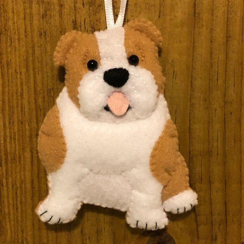 Bulldog Ornament Felt English Bulldog Felt Dog Christmas Ornament British Bulldog Team Mascot Dog Sourmug Bulldog Puppy Dog Lover Gift