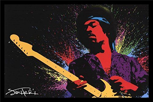 Framed Jimi Hendrix Splashy Paint 36x24 Music Art Print Poster Wall Decor Rock And Roll Woodstock Check Out This Great Product Note It Is Affili
