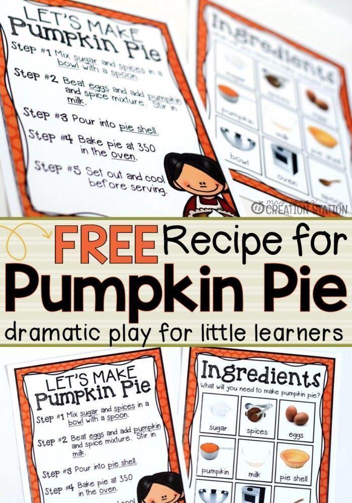 Dramatic Play Pumpkin Pie Recipe Dramatic play, Dramatic