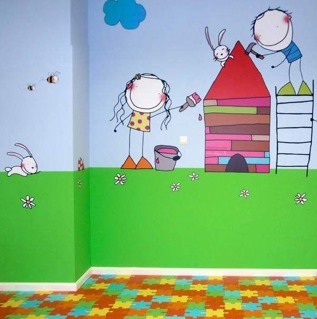 Pared Dibujo Ninos Murales De Ninos Y Ninas Mural Infantil Pinturas Para Ninas