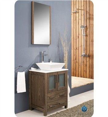 Photo Image Fresca Torino u u Modern Bathroom Vanity Vessel Sink Walnut FVNWB VSL