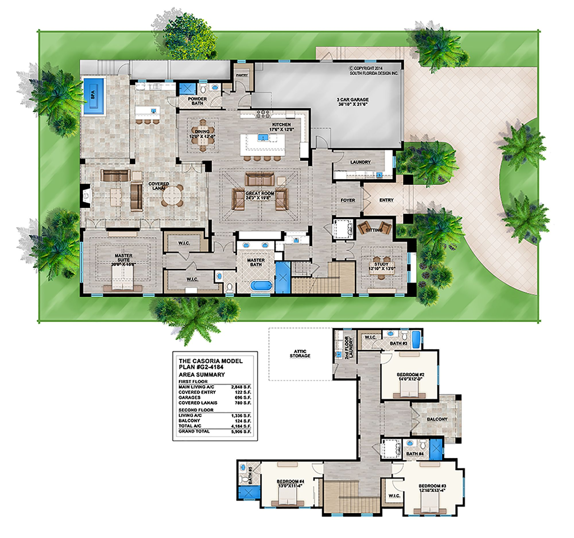 2 Story Mediterranean House Plan By South Florida Design