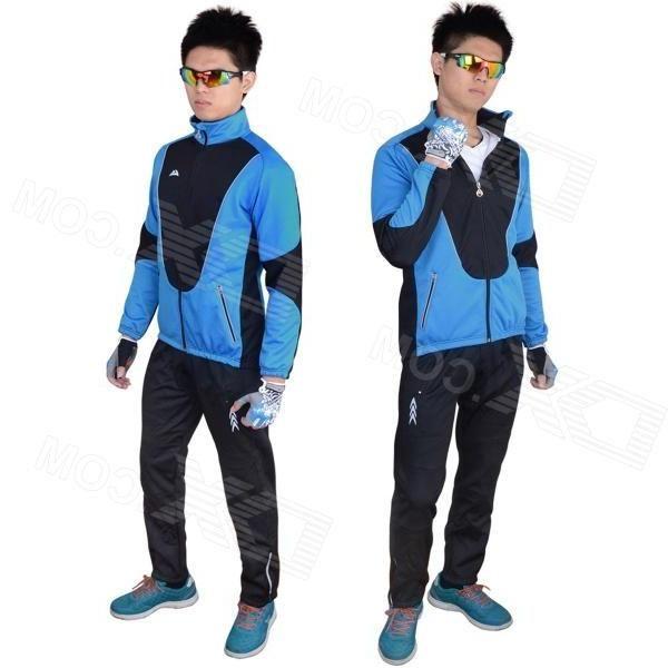 Veobike Mens Winter Thickened Windproof Zipper Cycling Jersey - Blue + Black (XL)