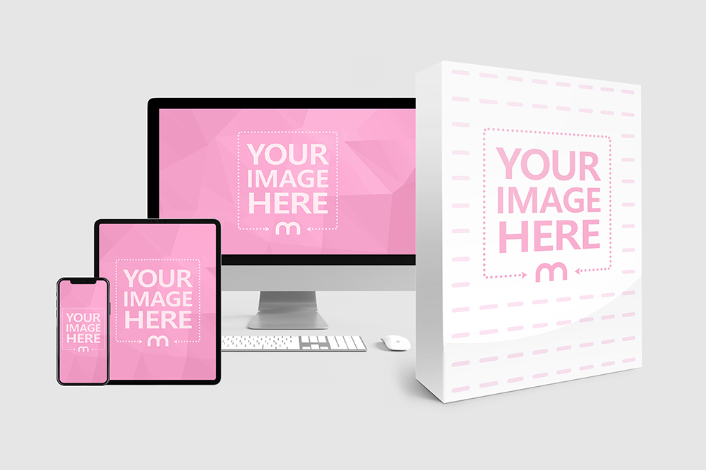 Download A Useful Mockup Template For Promoting Your Electronic Course Or Online Tutorial Product Template Features An Iphone Logo Mockup Mockup Generator Online Logo