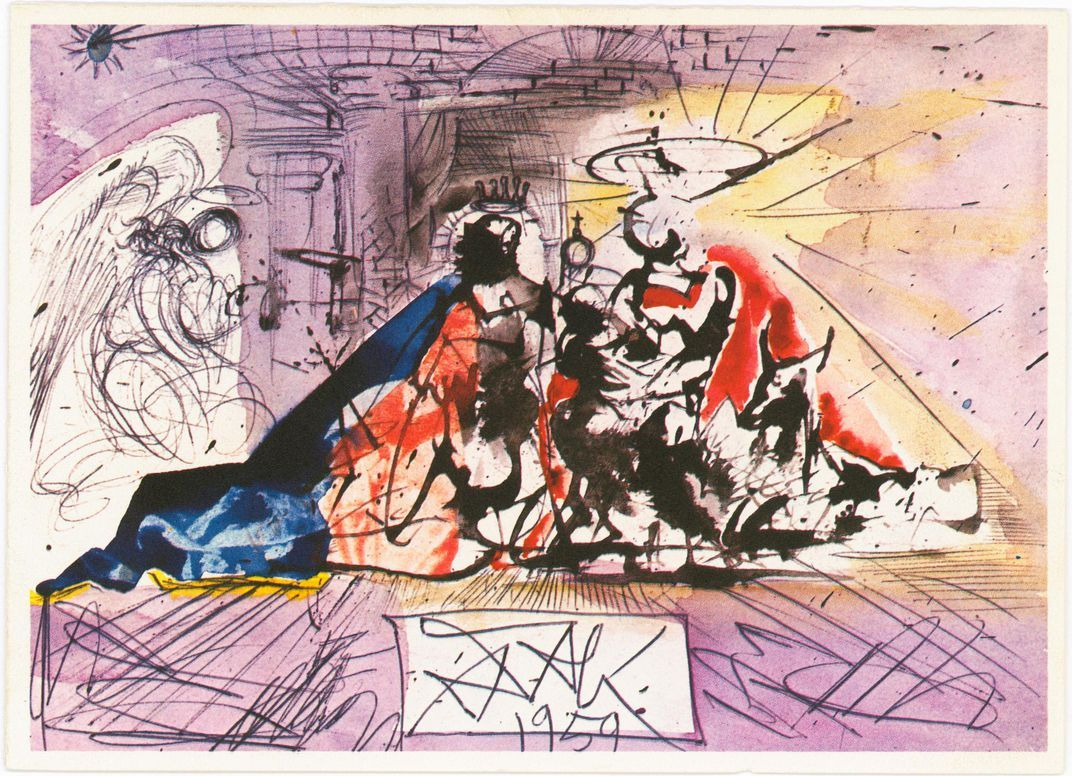 the history of the christmas card  salvador dali create