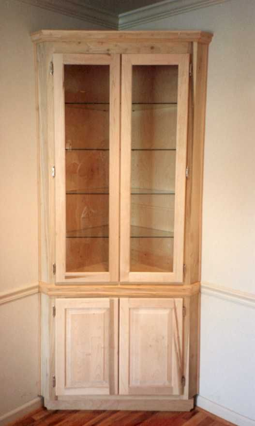 Built in corner cabinet with glass shelves furniture for How to build a dining room hutch
