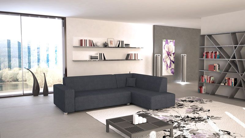 Sofá cama Tina de línea minimalista tapizado en tela de color gris ...