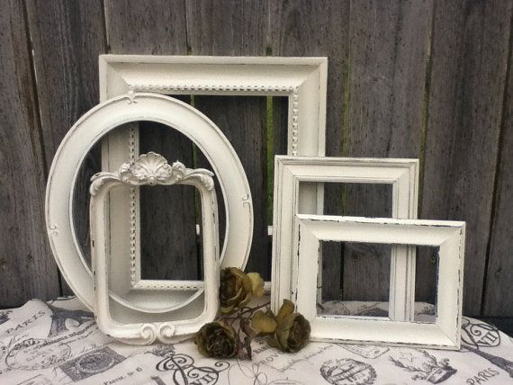Shabby chic decor - White PICTURE FRAMES - vintage style - shabby ...