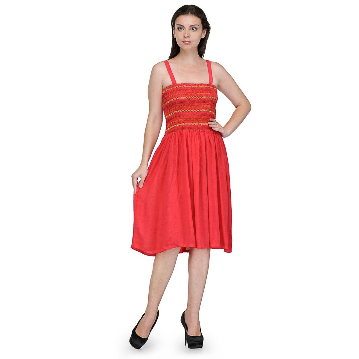 Viscose orange plain skater dress sc women western dresses