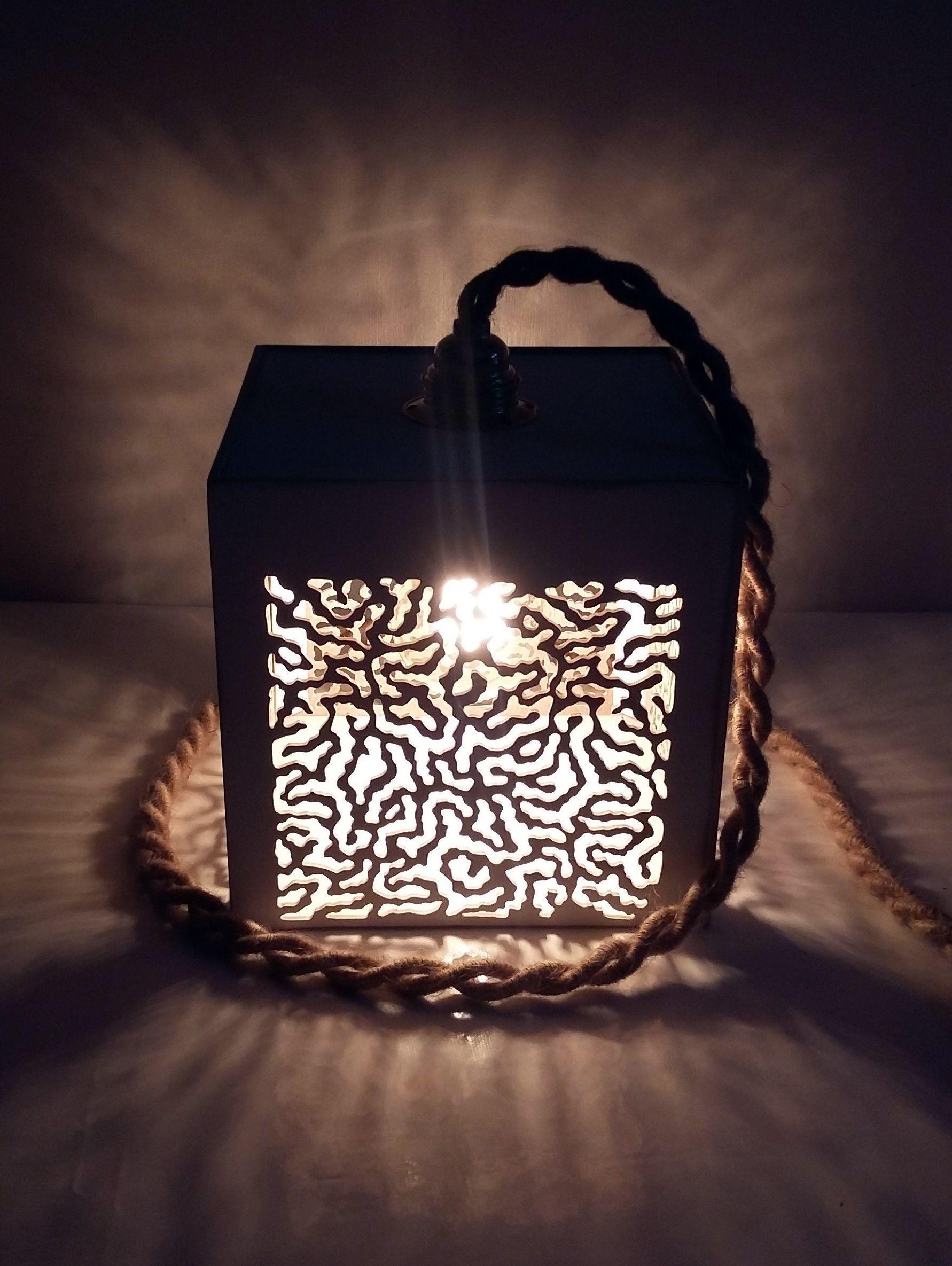 Lampe baladeuse blanc et écru bois 25 25 25 cm
