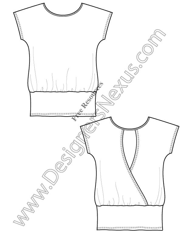 V14 Knit Tunic T-Shirt Template Free Flat Drawing - Free Vector