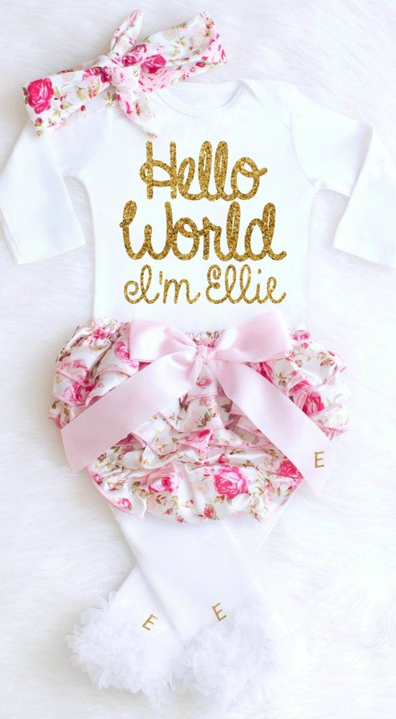 8662d9ce2 Baby Girl Coming Home Outfit Newborn Girl Take Home Outfit Personalized Baby  Girl Clothes Winter Boho Baby Clothes