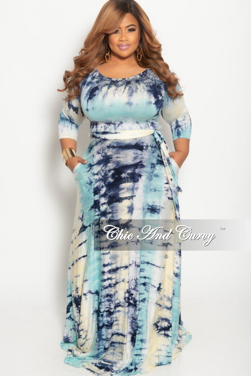 Plus Size Long Dress With 3 4 Sleeve And Tie In Aqua Blue Tie Dye Chic And Curvy Plus Size Long Dresses Chic And Curvy Plus Size Outfits [ 1200 x 801 Pixel ]