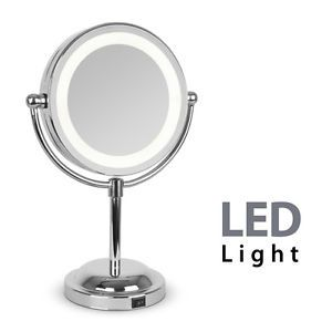 Round Silver Free Standing Led Light Make Up Vanity Dressing Table Mirror Gift Circle Light Mirror Mirror Table Makeup Mirror With Lights